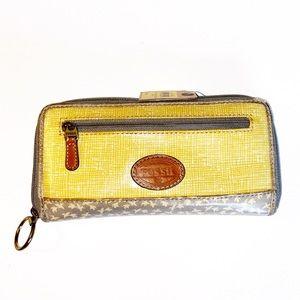 Fossil Wallet Keeper Clutch Zipper Coated Canvas